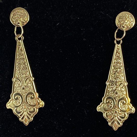 Gem Emporium Jewelry - Vintage 14 Karat Gold Art Nouveau Dangle Earrings